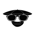 funny face cartoon with sun glasses vector image