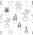 Hand drawn tropical cactus seamless pattern vector image