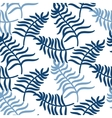 Tropical jungle palm leaves blue color pattern vector image