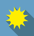 Flat design Sun icon with long shadow vector image