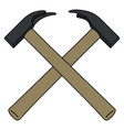 two crossed hammers vector image