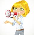Cute blond girl speaks in a megaphone vector image vector image