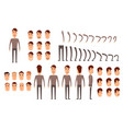man character creation set icons with different vector image