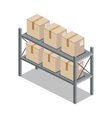Isometric 3d Shelf with Cartoon Box vector image