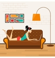 Beautiful girl with laptop on sofa vector image