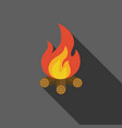 bonfire on fire wood icon vector image