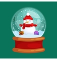 christmas snowman holding present in globe glass vector image