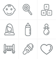 Line Icons Style Baby Icons Set Design vector image