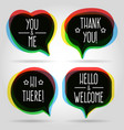 speech bubbles welcome signs vector image