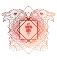 Two mirrored turkey heads vector image