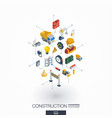 Construction integrated 3d web icons digital vector image