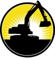 Mechanical Digger with sunburst vector image