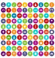 100 premium icons set color vector image