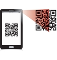 Mobile phone reading QR2 code vector image