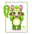 Cartoon cute green monster vector image