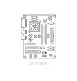 flat line computer part icon - motherboard vector image