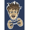 Gamer with a joystick On dark background vector image
