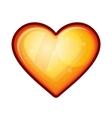Golden shiny heart shape isolated on white vector image