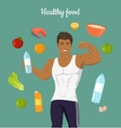 Healthy Food Concept Sportive Man After Diet vector image