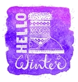Hello winter lettering text Brush and boots on vector image