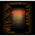 music neon light in the doorway of brick wall uno vector image