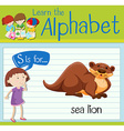 Flashcard letter S is for sea lion vector image