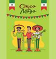 cinco de mayo poster design mexicans characters vector image