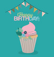Color pastel poster with decorative flags to party vector image
