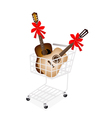 Two Guitar with Red Ribbon in Shopping Cart vector image