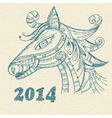 hand drwan horse symbol of 2014 year vector image vector image