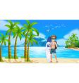 Boy and beach vector image