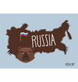 Map of Russia in the form of bear skins vector image