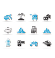 holiday travel and transportation icons vector image vector image