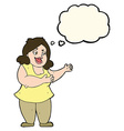 cartoon happy fat woman with thought bubble vector image