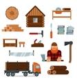 Lumberjack cartoon character with lumberjack tools vector image