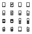 black mobile phone icon set vector image