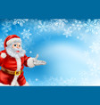 blue snowflakes and santa background vector image
