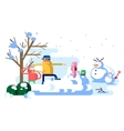 Children playing snowballs vector image