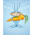 Happy little boy in rabbits vector image
