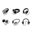 Headphones icon set in black on white background vector image