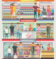 people shopping at supermarket banners vector image