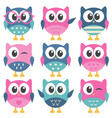 set of colorful funny owls vector image