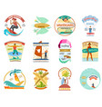 surfing school set surfboard wakeboard vector image