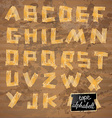 Vintage style alphabet made of yellow distressed vector image