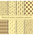 Set of musical notes seamless pattern vector image