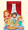 family having pizza on dining table vector image