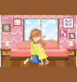 mother and daughter hug in bedroom vector image vector image