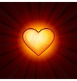 Gold Heart On Red Background vector image vector image
