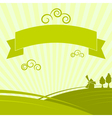 Green background with the rural landscape vector image vector image
