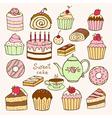 Set of hand drawn sweet cupcakes vector image